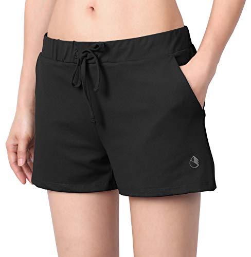 icyzone Damen Sport Shorts Kurze Hose Yoga Fitness Gym Shorts Einfarbig Laufshorts (L, Schwarz)