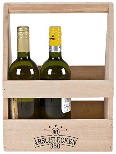 Arschlecken 350 Flaschenträger Bierträger Werkzeugkiste von Sepp Bumsinger, Erlenholz, ca. 35 x 26,5 x 19,5 cm