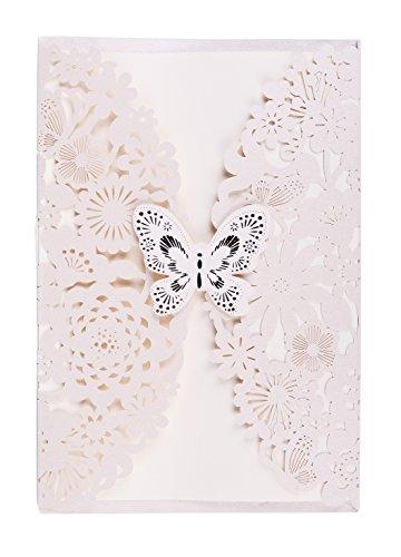 Wolfteeth Biglietto d'auguri d'invito Matrimonio Festa con Buste 25 Pezzi Farfalle e Fiori Progettazione (Beige)