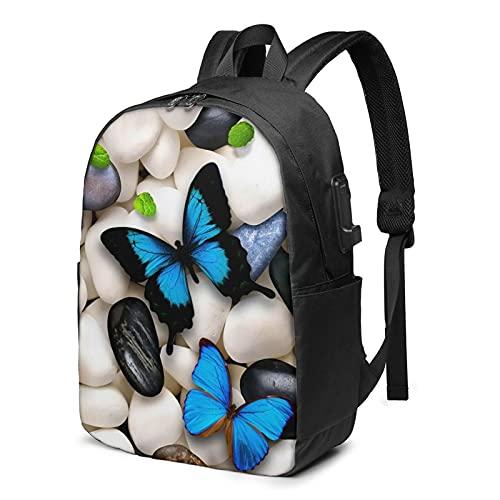 Mochila de viaje con bordado de piedra de mariposa, mochila para portátil con puerto de carga USB para hombres y mujeres de 17 pulgadas - negro - talla única