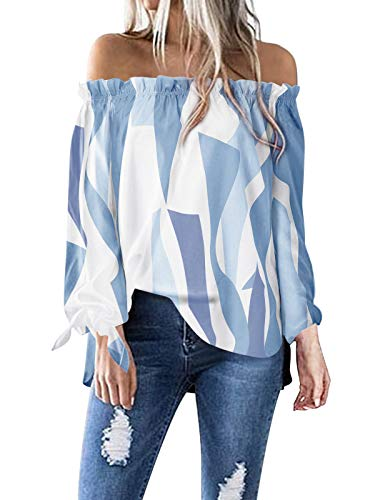 ACHIOOWA Womens Off Shoulder Top Geometric Pattern Blouses Floral Printed Long Sleeves Summer Shirts E-Blue XL