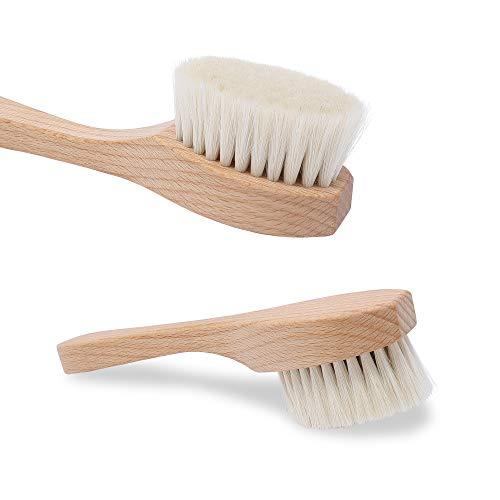 WALDKRAFT Gesichtsbürste Black Forest | schonende Massage- und Reinigungsbürste aus Buchenholz FSC | Ziegenhaar oder Naturborsten | Made in Germany (1 Stück, Ziegenhaar - Buchenholz)