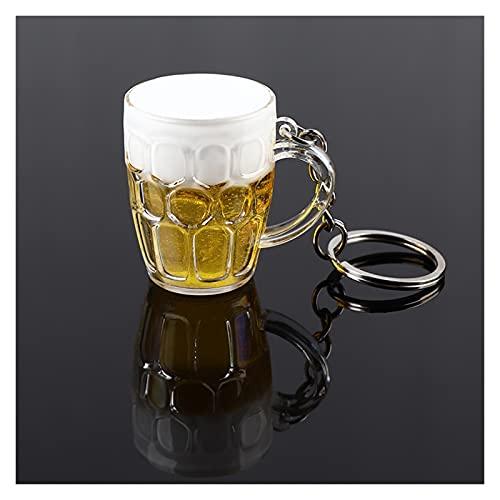 DFSMG Encantadora Mini Resina Artesanía Cerveza Llavero Llavero Unisex Mujeres Hombres Simulación Copa De Cerveza Colgante Llavero Regalo (Color : Black)