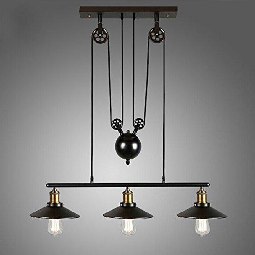 Homestia Lustre Industriel à 3 Lampes avec Poulie en Fer Effet Rétro Noir