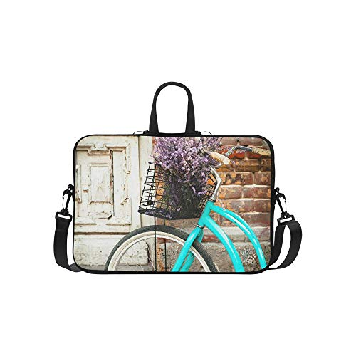 InterestPrint Vintage Bicycle with Basket and Lavender Flowers Near The Old Wooden Door Waterproof Neoprene Laptop Sleeve CaseNotebook Shoulder Bag 15 15.6 Inch with Handle & Strap for MacBook Dell