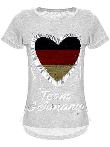 BEZLIT Deutschland Mädchen Wende-Pailletten WM 2018 Fan Fussball T Shirt 22512 Grau Größe 104