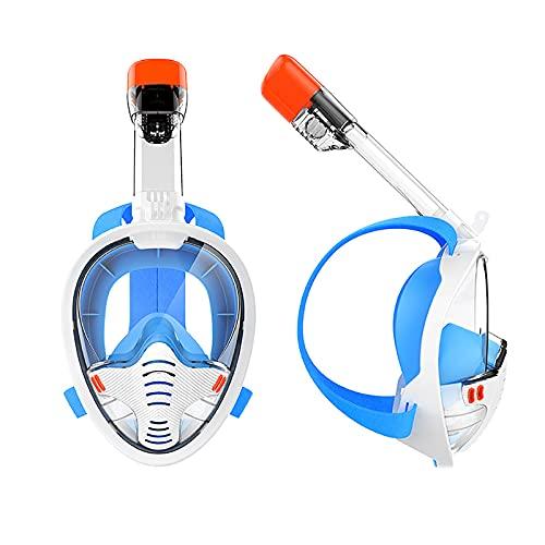 YouLpoet Máscara Esnórquel Cara Completa Antifugas Conjunto Antivaho Entrenamiento Natación Sistema Superior Seco Vista 180 ° Silicona Suave Respiración Libre,Blanco