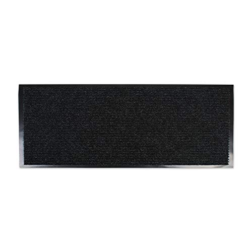 J & M Home Fashions Ribbed Runner Utility Mat, 22-Inch by 60-Inch, Charcoal