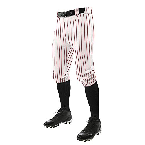 CHAMPRO Triple Crown Knicker Style Baseball Pants with Knit-in Pinstripes and Reinforced Sliding Areas