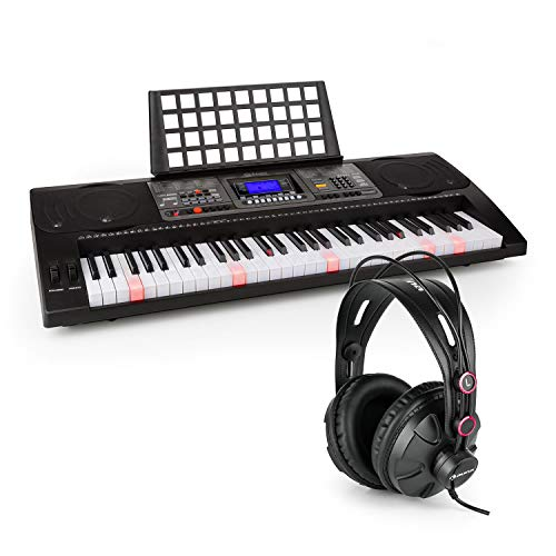 Schubert Etude 450 - Lern-Keyboard mit Notenständer und Kopfhörer, 61 Tasten (5 Oktaven, C2 - C7), USB-MIDI-Player, LCD-Display, 460 Stimmen, 260 Begleitrhythmen, 65 Demo-Songs, schwarz