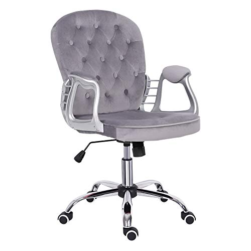 Grey Desk Chair,Velvet Computer Chair Mid Back Executive Chair Adjustable Height Comfy Padded Office Swivel Chair,Home/Office Furniture