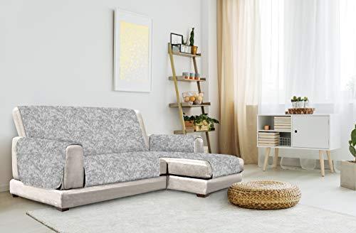 """Italian Bed Linen """"Glamour"""" rutschfest Sofa Abdeckung mit Chaise-Longue Rechts, Dunkel grau, 190cm"""