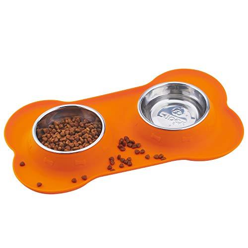 Super Design Comedero Doble Perro con cuenos INOX Comedero Gato Doble con Base de Silicona en Forma de Hueso ✅