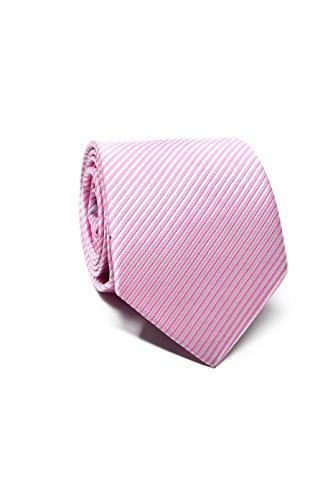 Oxford Collection Cravate Homme à rayures Rose - 100% en Soie - Classique, Elégante et Moderne - (Idéale pour un cadeau, un mariage, avec un costume,