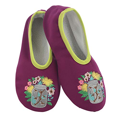 Snoozies Solefully Comfortable Slippers - Womens Slipper Socks with Hard Sole -Fireflies - Large