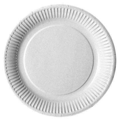 Assiette Carton Jetable | Blanc | Biogradable | Diamètre 23 cm | Lot de 300 pièces