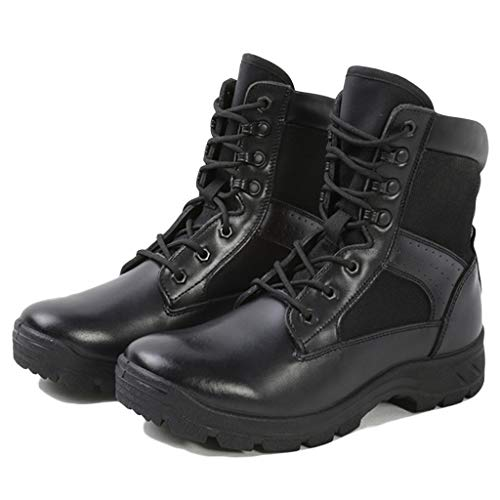 Wygwlg Adult Military Army Patrol Black Leather Combat Boots Outdoor Cadet Security Unisex High Top Desert Anti Skid Land Shoes,Black-43