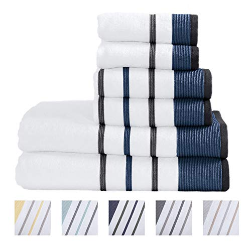 Great Bay Home 6-Piece Luxury Hotel/Spa 100% Turkish Cotton Striped Towel Set, 500 GSM. Includes Bath Towels, Hand Towels and Washcloths. Noelle Collection By Brand. (Moroccan Blue/December Sky)