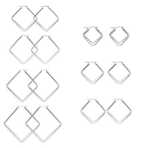 JewelryWe Schmuck 7 Paar Damen Ohrringe Edelstahl Poliert große Quadrat Viereck Geometrie Hoop Creolen Ohrstecker Silber 20mm~50mm