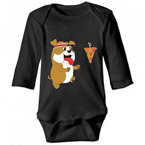 KioHp English Bulldog Running Pizza Baby Body Unisex lange mouwen ronde hals klimmen pak casual klimmen kostuum baby zwart