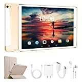 Tablette Tactile 10.1 Pouces 4G RAM 3Go+32Go/128Go ROM Android 9.0 Tablette Portable 10.1' Call 8500mAh Quad Core Double Caméra 8MP WiFi Tablette Android Pas Cher 4G avec GPS Netflix OTG(Or)