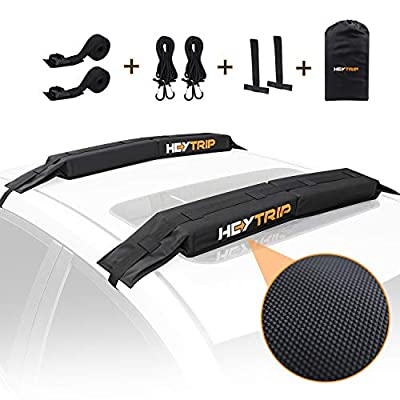 HEYTRIP Universal Soft Roof Rack Pads for Kayak /Surfboard /SUP /Canoe with 15FT Tie-Down Straps and Storage Bag