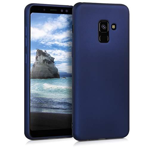 kwmobile Hülle kompatibel mit Samsung Galaxy A8 (2018) - Hülle Silikon metallisch schimmernd - Handyhülle Metallic Blau