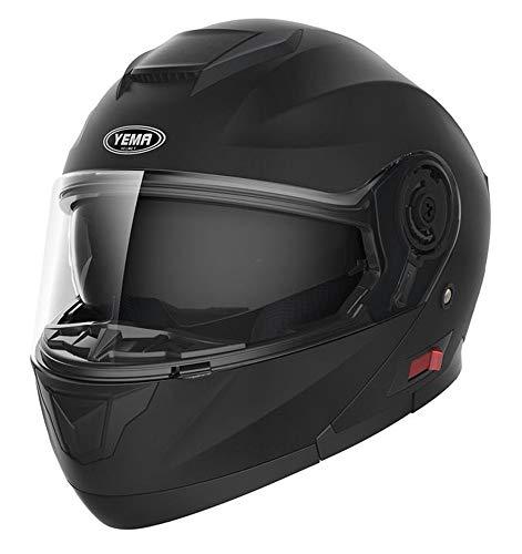 Motorbike Crash Modular Helmet ECE Approved - YEMA YM-926 Full Face Racing Motorcycle Helmet with Sun Visor for Adult Men Women - Matt Black, S