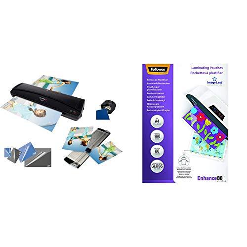Fellowes 53061 - Pack de 100 fundas para plastificar, A4, 80 micras + Olympia 4 in 1 Set A 230 - Plastificadora A4 con fundas 80 mic, color negro