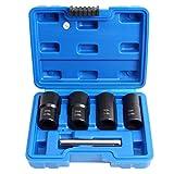 CCLIFE Juego de llaves de vaso especiales Extractor y Removedores de Tornillo de la tuerca de la rueda para 17mm 19mm 21mm 22mm