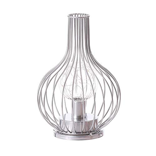 Battery Operated Table Lamp, Cordless Metal Bedside Desk Lamp, Modern Iron Basket Cage Style Night Light for Home Bedroom Living Room Patio Hotel