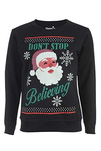 Hanes Women's Christmas Santa Ugly Sweater Sweatshirt, Black, XX-Large