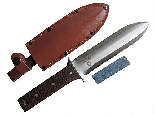 Hori Hori Japanese Garden Knife - Multi-use Camping/Digging Tool–[A Gardeners Dream] Sharp Stainless Steel Blade - Heavy Riveted Leather Sheath - Whetstone Sharpening Stone