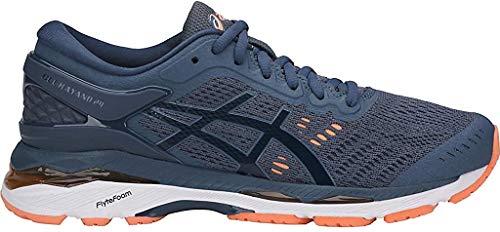 ASICS Women's Gel-Kayano 24 Running Shoes, 5.5M, Smoke Blue/Dark Blue/CANTELOUP