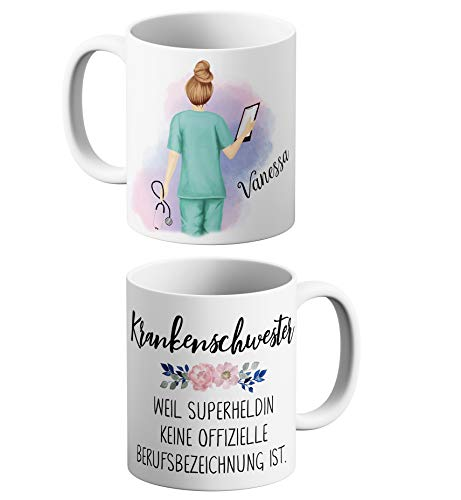 HELDENTASSEN Kaffeetasse | Teetasse Krankenschwester, personalisiertes und persönliches Geschenk