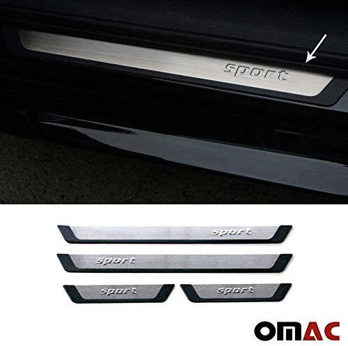 OMAC Gebürstet Chrom Einstiegsleisten für Golf 4 IV 1997-2007 Türschutzleisten 4 TLG Edelstahl Flexill