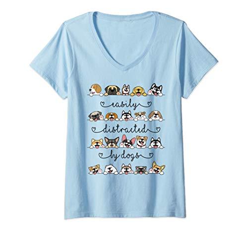 Mujer Distraído fácilmente por los perros Camisa Divertida Amante Camiseta Cuello V