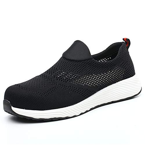 ALOFME Zapatos de seguridad S3 de verano, para hombre y mujer, ligeros, deportivos, con puntera de acero transpirable, color Negro, talla 43 EU