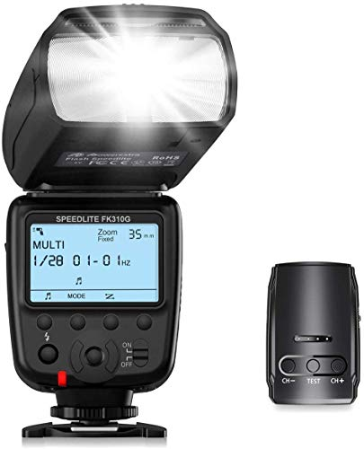 Powerextra Pantalla LCD Flash Speedlite, 2.4G Kit de Transmisor de Disparador de Flash...