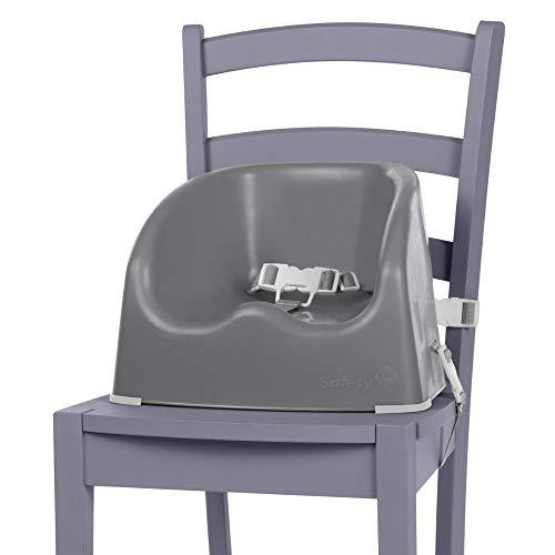 Safety 1st Sitzerhöhung Essential Booster, schnelle und einfache Anbringung auf allen gängigen Esstischstühlen, pflegeleichte Oberfläche, 3-Punkt-Gurt für einen sicheren Halt, warm grey