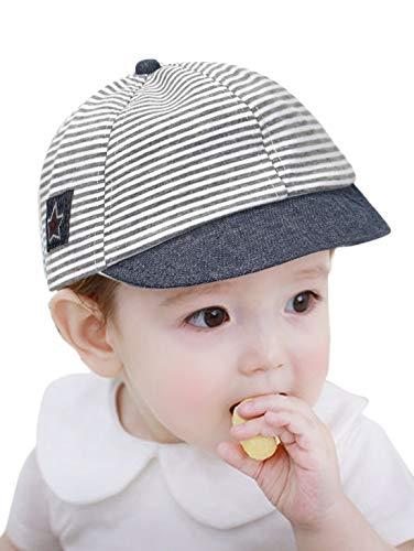 GEMVIE Sonnenhut Baby Jungen Sommerhut Mädchen Baseball Cap Kinder 6-18 Monate mit Streift Grau