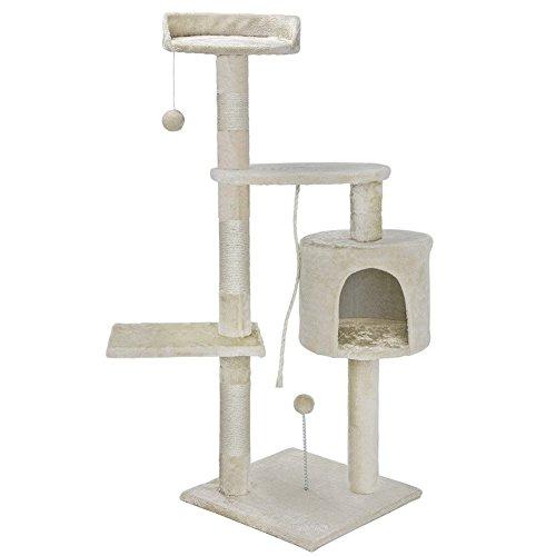 BAKAJI Albero Tiragraffi per Gatti in Sisal e Peluche Parco Giochi Gatto con Cuccia Pali Graffiatoio e 3 Piattaforme Dimensioni 112 x 67 x 55 cm (Crema)