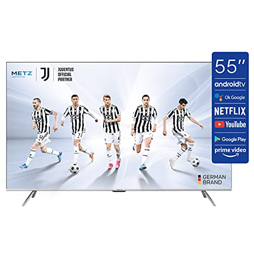 METZ Android 10.0 Smart TV Serie MUC7000, LED Direct, UHD 3840x2160, 55' (139 cm), HDR10/HLG, HDMI, ARC, USB, Slot CI+, Dolby Digital, Dolby Vision, DVB-C/T2/S2, HEVC MAIN10, Google Assistant, Argento