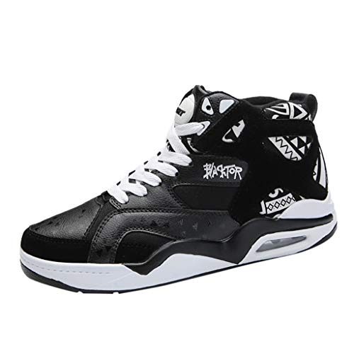 TWISFER Mens HIGH TOP Trainers Daily LACE UP Casual Ankle Boots Increase Height HIP HOP Graffiti AJ 10 Skateboarding Shoes
