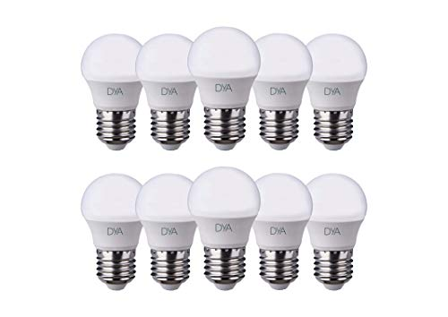 SET di 10 LAMPADINE LED DYA LED, (SFERA E27 LUCE NATURALE 4000K, 6W)