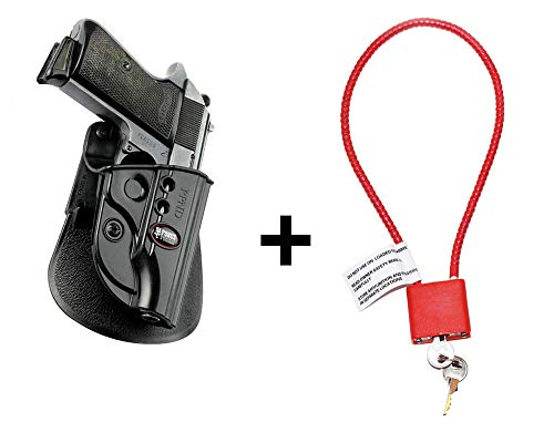 Walther PPK Holster & Cable Gun Lock, Fobus Tactical Retention Paddle Holster for Walther PPK / PPKS (old versions)