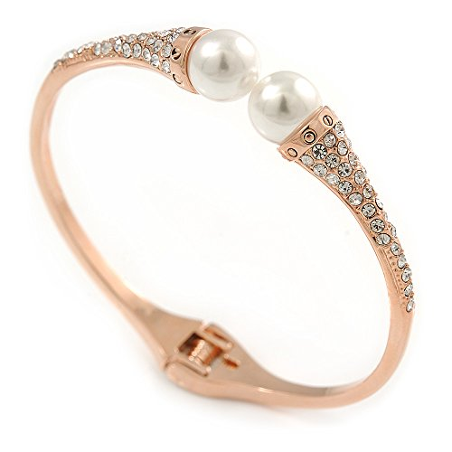 Avalaya Delicate Crystal Simulated Glass Pearl Bead Hinged Bangle Bracelet in Rose Gold Tone - 18cm L