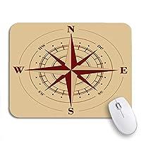 ROSECNY 可愛いマウスパッド ブラウン航海コンパスローズマップ古い冒険古代アンティーク滑り止めゴムバッキングコンピューターマウスパッドノートブックマウスマット