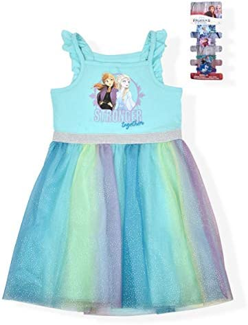 Disney Frozen 2 Girl s Stronger Together Sleeveless Dress with 4 Ponytail Holders Blue Size product image