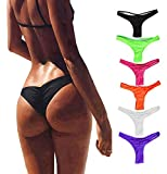 FOCUSSEXY Women's Hot Summer Brazilian Beachwear Bikini Bottom Thong Swimwear Black M
